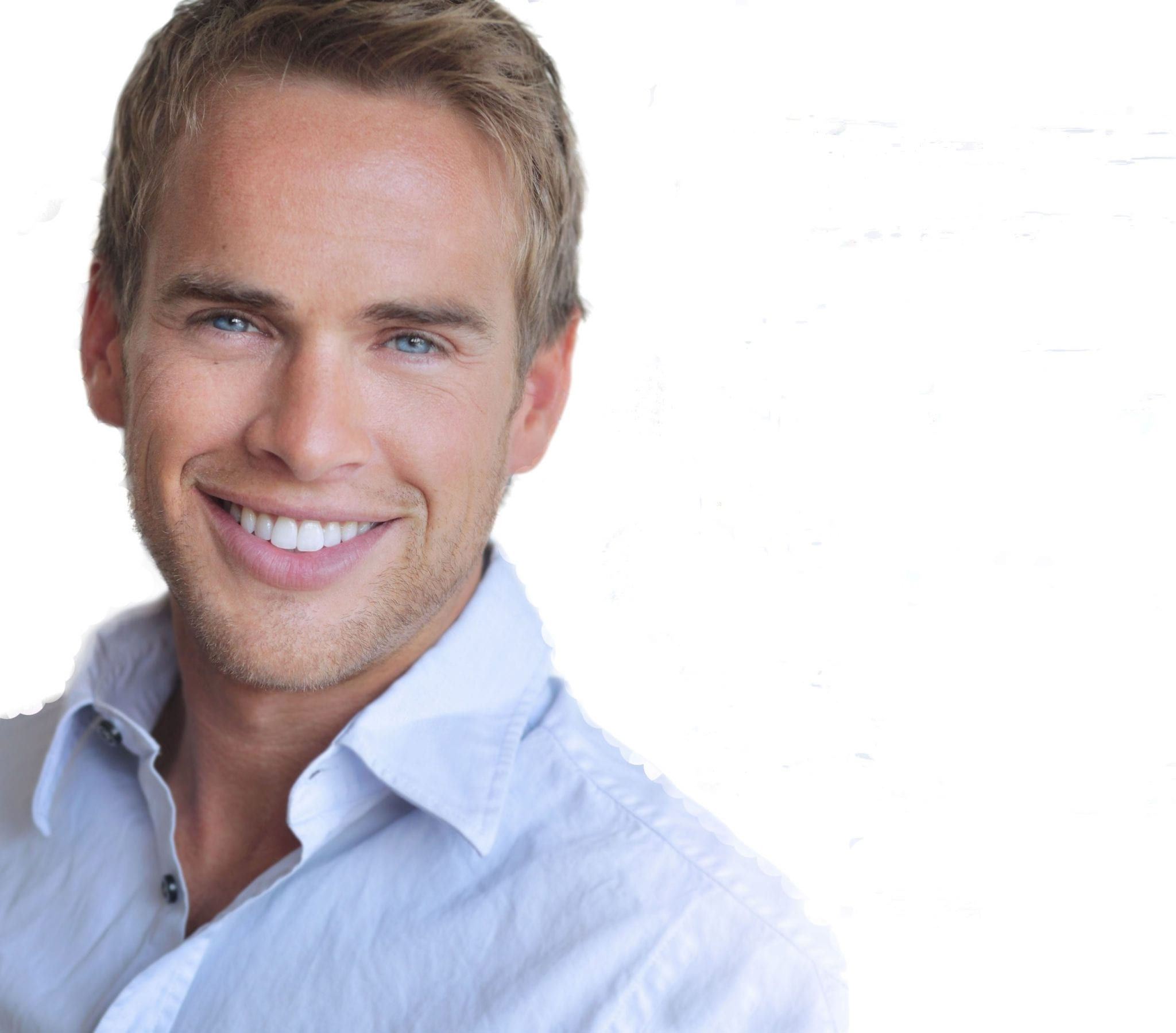 Image of smiling young man for Botox, dermal fillers and skin treatments for men page.