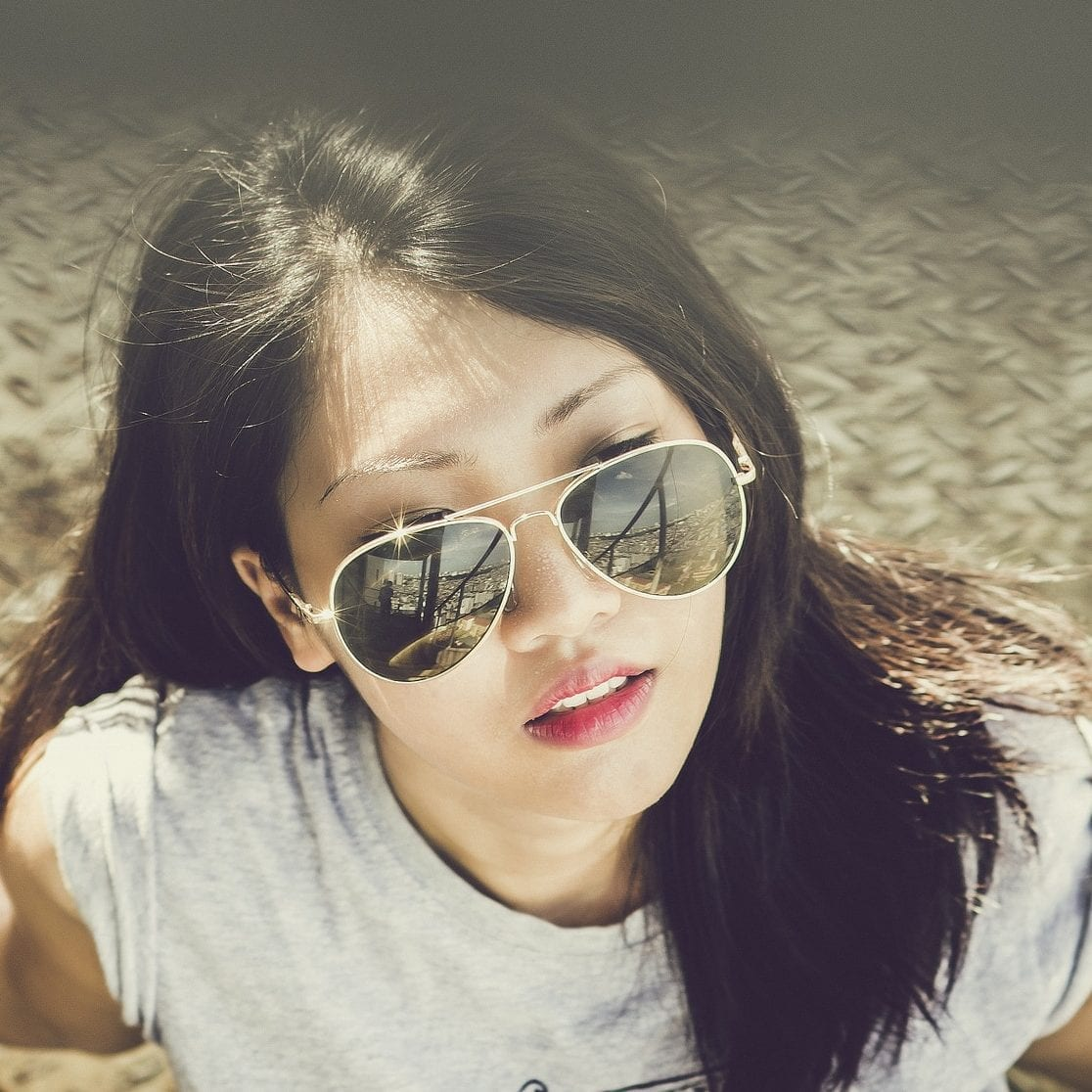 Image of beautiful asian woman in sunglasses for korean beauty or k-beauty blog post